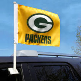 Green Bay Packers Yellow Car Flag with G