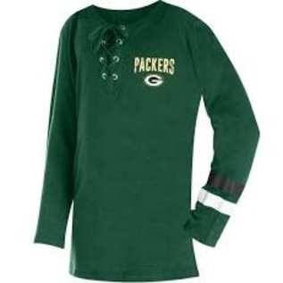 5th &  Ocean Green Bay Packers Youth Girls Lace up Long Sleeve Tee