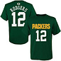 Outerstuff Green Bay Packers Youth Rodgers Name and Number Short Sleeve Tee