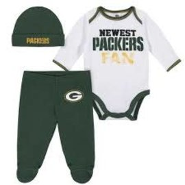 Gerber Childrenswear Green Bay Packers Infant Newest Fan Footed Pant,Bodysuit,and Cap Set