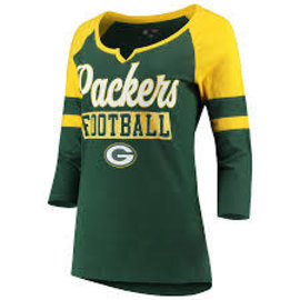 5th &  Ocean Green Bay Packers Women's Slub Jersey 3/4 Sleeve Raglan With Split Neck