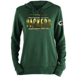 5th &  Ocean Green Bay Packers Women's Foil Print Pullover Hoodie