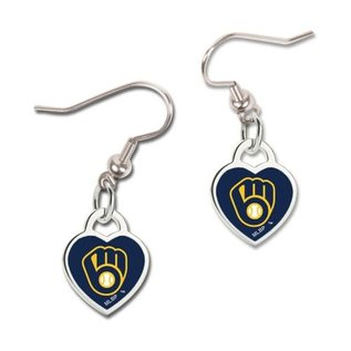 Milwaukee Brewers Heart Shaped Ball and Glove Logo Dangle Earrings
