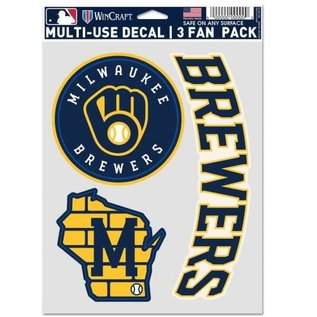 Milwaukee Brewers Multi Use Decal 3 Fan Pack