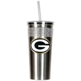 Green Bay Packers Silver Travel Mug with Bling and Straw