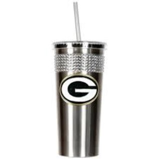 Great American Products, LTD Green Bay Packers Silver Travel Mug with Bling and Straw