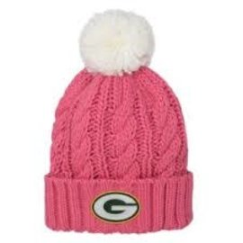 Outerstuff Green Bay Packers Youth Pink Cable Knit Cuff With Pom