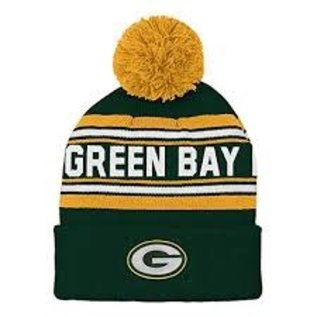 Outerstuff Green Bay Packers Youth Jacquard Cuffed Knit Hat With Pom