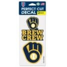 WinCraft, Inc. Milwaukee Brewers 2 Pack 4x4 Perfect Cut Decals With Brew Crew