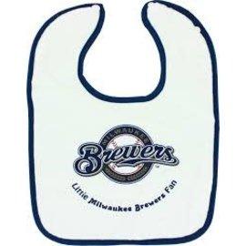 Milwaukee Brewers White Baby Bib with Blue Trim
