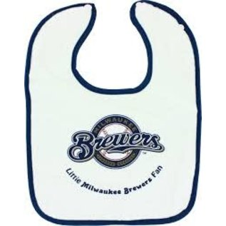 Milwaukee Brewers White Baby Bib with Blue Trim