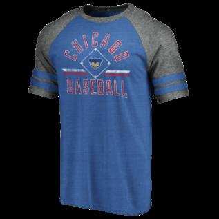 Fanatics Chicago Cubs Men's True Classics Sleeve Stripe Triblend Diamond Legacy Short Sleeve Tee