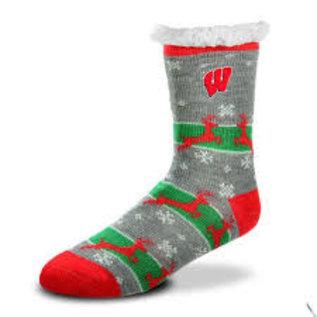 For Bare Feet Wisconsin Badgers Women's Sherpa Socks Medium