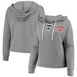 5th &  Ocean Wisconsin Badgers Women's Lace Up Pullover Hoodie