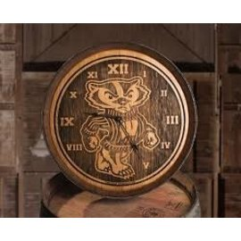 Wisconsin Badgers Bucky Barrelhead Clock