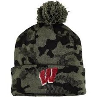 Adidas Wisconsin Badgers Camo & Black Veteran's Promo Cuffed Knit Hat