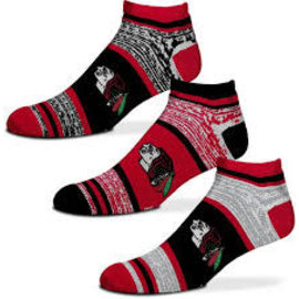 Chicago Blackhawks Men's Triplex Heathered 3 Pack of Socks Large