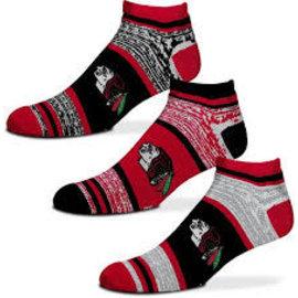 For Bare Feet Chicago Blackhawks Men's Triplex Heathered 3 Pack of Socks Large