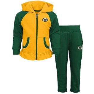 Outerstuff Green Bay Packers Youth Girls LiL Champ Full Zip Hoodie and Pant Set