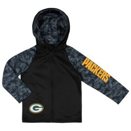 Gerber Childrenswear Green Bay Packers Youth Black Full Zip Hooded Lightweight Jacket