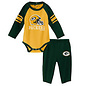 Outerstuff Green Bay Packers Infant Future Starter Long Sleeve Onesie and Pant Set
