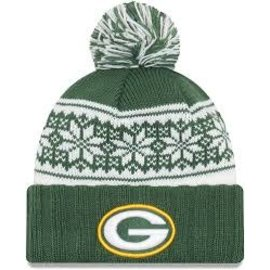 New Era Green Bay Packers Women's Snowy Pom Knit Hat
