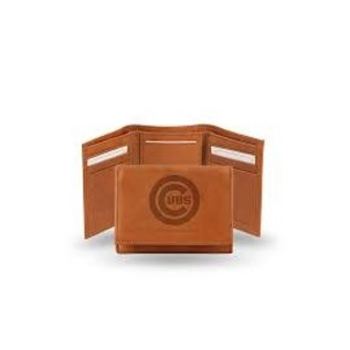 Rico Industries, Inc. Chicago Cubs Brown Leather Trifold Wallet with Man-Made Interior