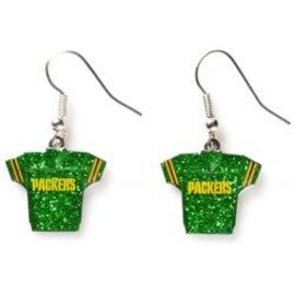 Green Bay Packers Glitter Jersey Dangle Earrings