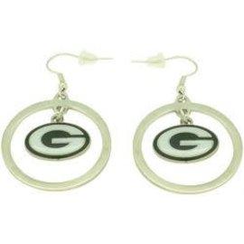 Green Bay Packers Silver Hoop with Dangle G Dangle Earrings