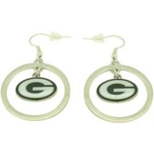 Green Bay Packers Silver Hoop with Dangle G Dangle Earrings