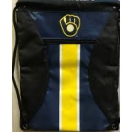 Forever Collectibles Milwaukee Brewers Big Stripe Zipper Drawstring Backpack