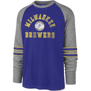'47 Brand Milwaukee Brewers Men's Heritage Windup Raglan Long Sleeve Tee