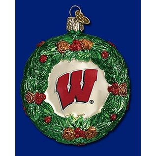 Wisconsin Badgers Blown Glass Wreath Ornament