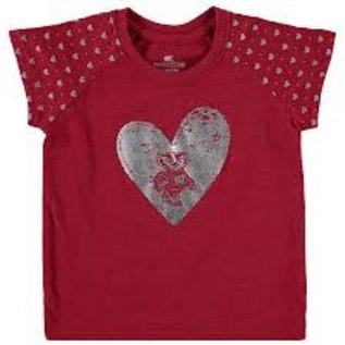 Colosseum Wisconsin Badgers Infant Short Sleeve Tee with Hearts on Arms