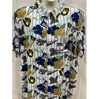 Forever Collectibles Milwaukee Brewers Men's Floral Short Sleeve Button Down