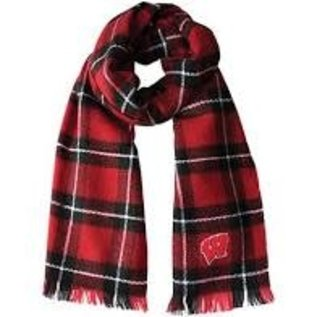 Little Earth Wisconsin Badgers Plaid Blanket Scarf