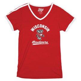 Blue 84 Wisconsin Badgers Women's Tori V Neck Ringer Short Sleeve Tee