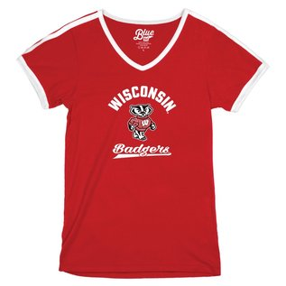 Blue 84 Wisconsin Badgers Women's Tori V Neck Ringer Short Sleeve Tee