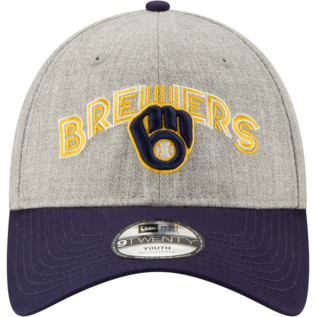 New Era Milwaukee Brewers Youth 9-20 Team Arch Adjustable Hat