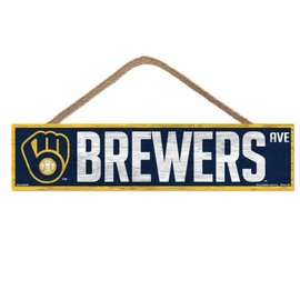 WinCraft, Inc. Milwaukee Brewers 4x17 Wood Sign with Rope