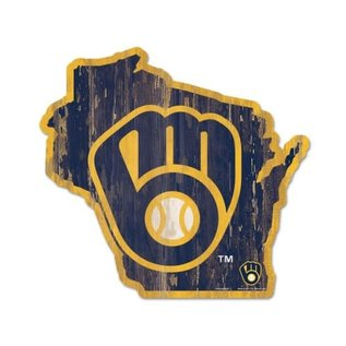 WinCraft, Inc. Milwaukee Brewers Wood State Shaped Sign