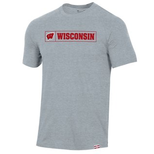 Under Armour Wisconsin Badgers Gray Men's Pinnacle Short Sleeve Tee