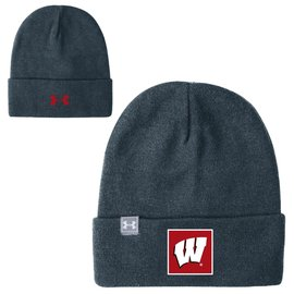 Under Armour Wisconsin Badgers Stealth Grey Truckstop Beanie Knit Hat