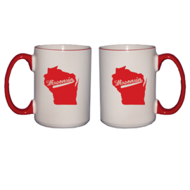 Wisconsin Badgers 14oz Script Mug with State Outline