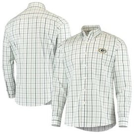 Antigua Green Bay Packers Men's Keen Long Sleeve Full Button Shirt
