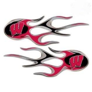 Wisconsin Badgers Micro Flames Decals Set of 2