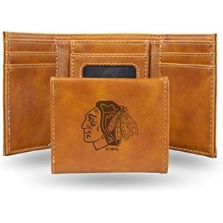 Rico Industries, Inc. Chicago Blackhawks Brown Leather Trifold Wallet with Man-made Interior