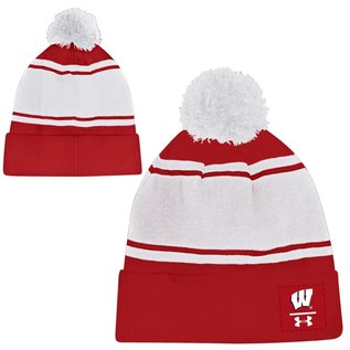 Under Armour Wisconsin Badgers F20 Pom Beanie Knit Hat