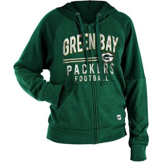5th &  Ocean Green Bay Packers Women's Full Zip Hoodie With Shoulder Inserts