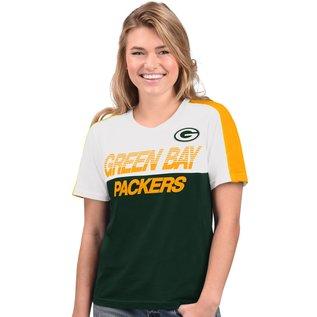 G III Green Bay Packers Women's Corner Panel Short Sleeve Tee
